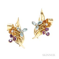 18kt Gold Gem-set Earclips, Boucheron London