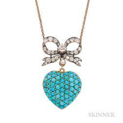 Victorian Turquoise and Diamond Pendant