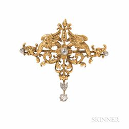 Art Nouveau 18kt Gold and Diamond Pendant/Brooch