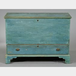 Light Blue-painted Pine Chest over Drawer