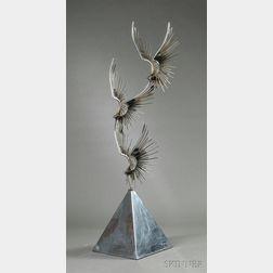 Curtis Jere Three Eagle Floor Sculpture