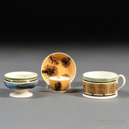 Mochaware Porter Mug, Master Salt, and Small Tea Bowl and Saucer