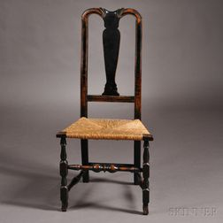 Black-painted Queen Anne Maple Rush Seat Side Chair