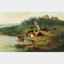 Arthur Fitzwilliam Tait (American, 1819-1905)      Heron Among Eight Ducks at the Edge of a Pond