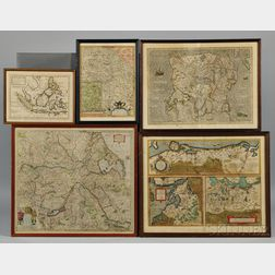 Europe, Northern Ireland, and the East Indies: Five Framed Maps.