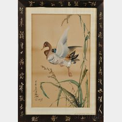 Painting Depicting a Flying Duck