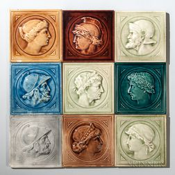 Nine J. & J.G. Low Art Tile Works Art Pottery Portrait Tiles