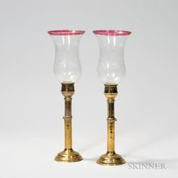 Set of Eight Brass Candlesticks with Glass Shades