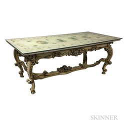 Italian Rococo-style Floral-decorated Marble- and Glass-top Table