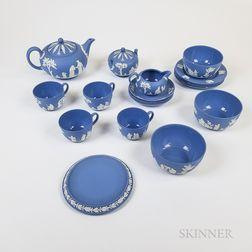 Nineteen-piece Modern Wedgwood Light Blue Jasper Tea Service.     Estimate $300-500