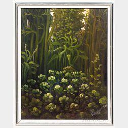 Haitian or Caribbean School, 20th Century      Rainforest Foliage.