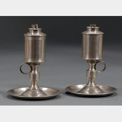 Pair of Pewter Chamber Lamps
