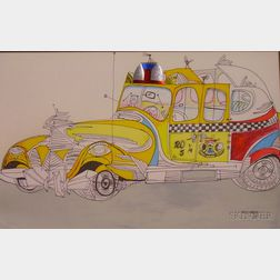 Saul Steinberg (American, 1914-1999)      Taxi