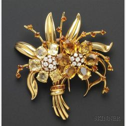 Yellow Sapphire, Citrine and Diamond Spray Brooch, Van Cleef & Arpels, New York