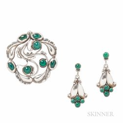 Silver and Green Onyx Brooch and Earrings, Georg Jensen