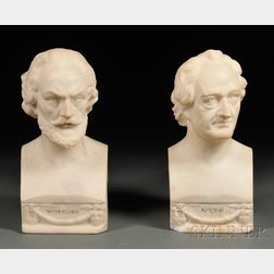 Alabaster Busts of Shakespeare and Goethe