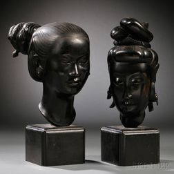 Two Bronze Women's Heads