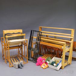 Assortment of Looms, Accessories, and Yarn