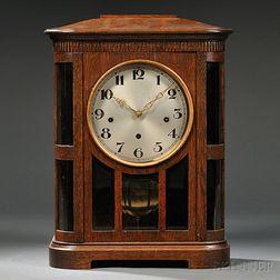 German Oak Quarter-chiming Shelf Clock