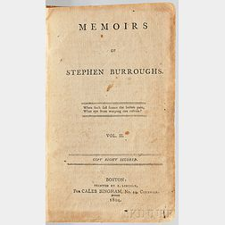 Burroughs, Stephen (1765-1840) Memoirs of Stephen Burroughs.