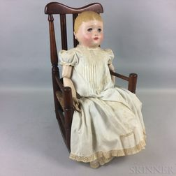 Martha Chase-type Stockinette Doll and a Child's Bannister-back Rocking Armchair