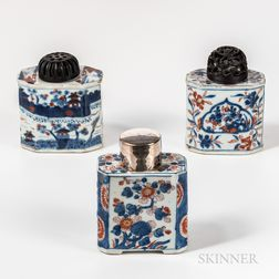 Three Imari Palette Export Porcelain Tea Caddies