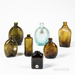 Seven Blown Flasks/Bottles