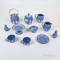 Twelve Modern Wedgwood Light Blue Jasper Items.     Estimate $200-300