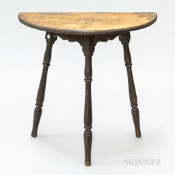 Country Black-painted Wood Splay-leg Demilune Console