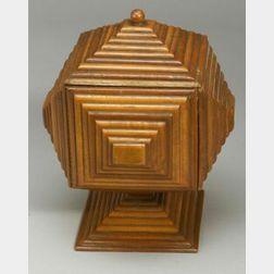Tramp Art Covered Pedestal Box