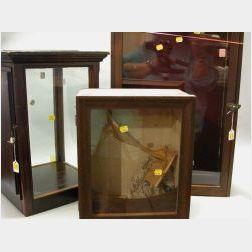 Three Wood-Framed Doll Display Cases