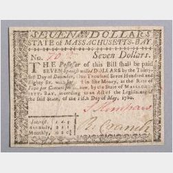 Massachusetts Seven Dollar Currency Note, 1780.