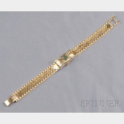 Lady's 18kt Gold, Emerald, and Diamond Covered Wristwatch, Gubelin