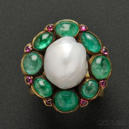 Rare Gold, Baroque Pearl, Emerald, and Pink Sapphire Ring, Marie Zimmermann