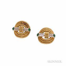 18k Gold, Emerald, and Diamond Earclips