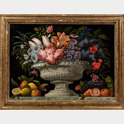 Continental School, 18th/19th Century      Still Life with Flowers in a Classical Urn with Fruit at the Base