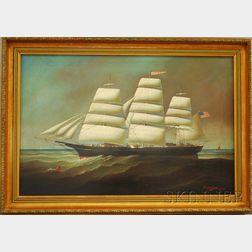 American School, 19th Century      Portrait of the Three-Masted Sailing Ship Commodore