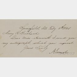 Lincoln, Abraham (1809-1865) Secretarial Note Signed, Springfield, 6 February 1861.