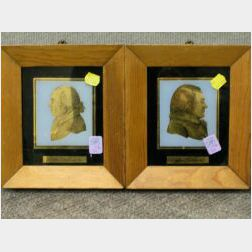 Pair of Framed Reverse-Painted Profiles of Presidents John Adams and James Madison.
