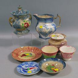 Eight Spatterware Items