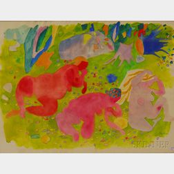 Gregorio Prestopino (American, 1907-1984)      Female Figures in Nature.