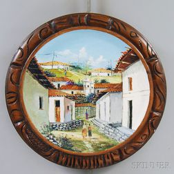 Painted Wooden Plaque with Honduras Landscape View
