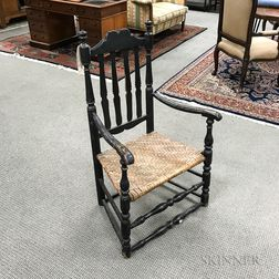 Black-painted Bannister-back Armchair and a Slat-back Side Chair