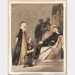 British School, 19th Century, Elizabeth Woodville Pleading for Her Children (the children of Edward IV, Edward V and Richard of Shrewsb