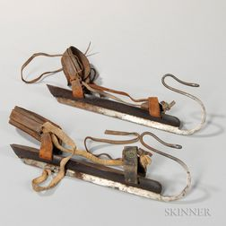 Pair of Wood and Steel Ice Skates