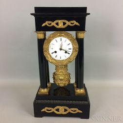 French-style Ormolu-mounted and Ebonized Portico Mantel Clock