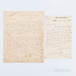 Greeley, Horace (1811-1872) Two Autograph Letters Signed.