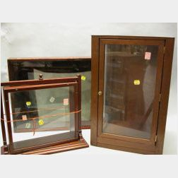 Three Wooden Doll Display Cases