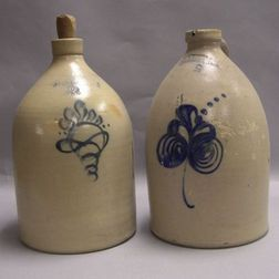 F. B. Norton Co. Two-Gallon Cobalt Floral Decorated Stoneware Jug and an Ottman Bros. Two-Gallon Cobalt Floral Decorated Jug.