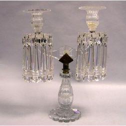 Colorless Cut Crystal Two-Arm Girandole.